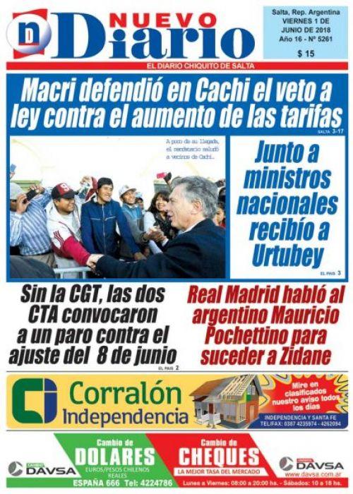 Tapa del 01/06/2018 Nuevo Diario de Salta