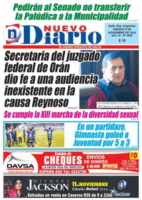 Tapa del 05/11/2016 Nuevo Diario de Salta