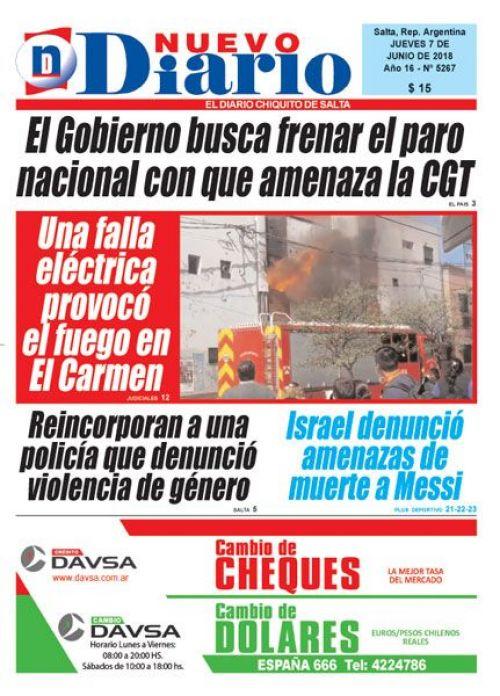 Tapa del 07/06/2018 Nuevo Diario de Salta