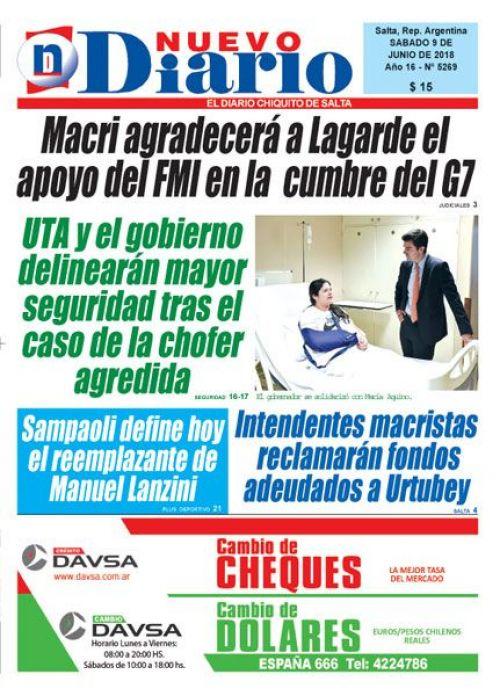 Tapa del 09/06/2018 Nuevo Diario de Salta