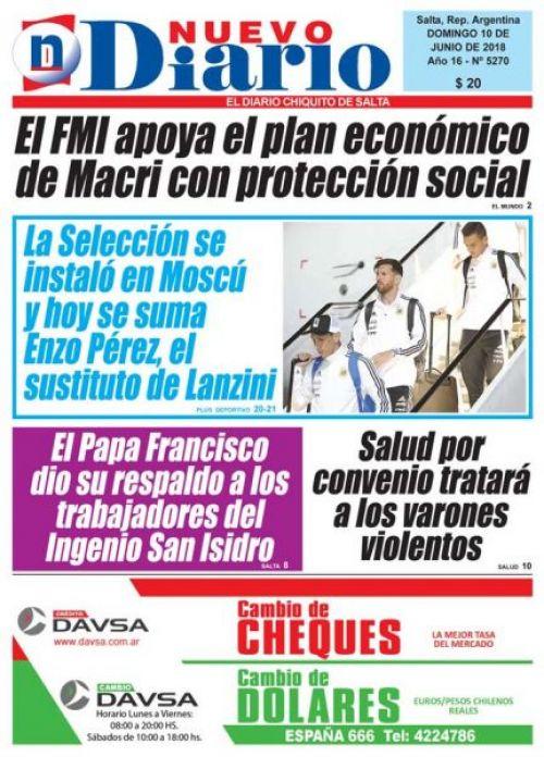 Tapa del 10/06/2018 Nuevo Diario de Salta