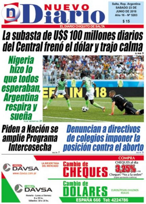 Tapa del 23/06/2018 Nuevo Diario de Salta