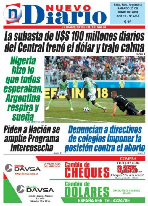 Tapa del 24/06/2018 Nuevo Diario de Salta