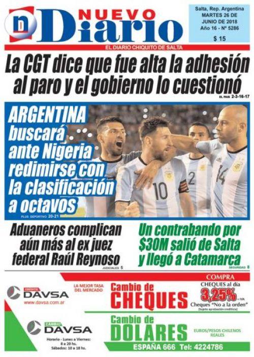 Tapa del 26/06/2018 Nuevo Diario de Salta