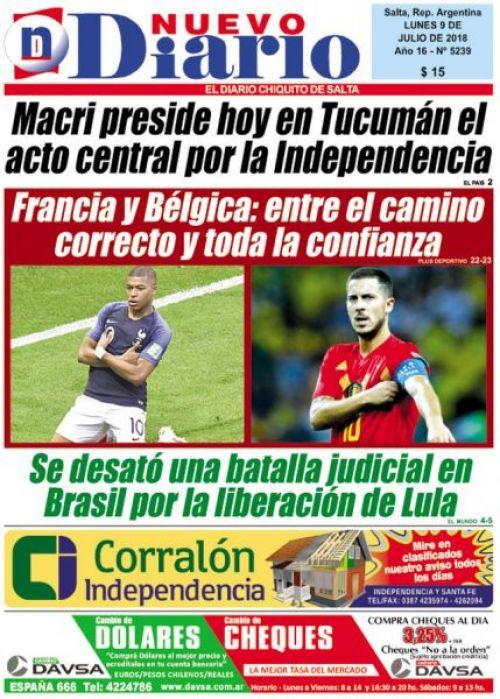 Tapa del 09/07/2018 Nuevo Diario de Salta