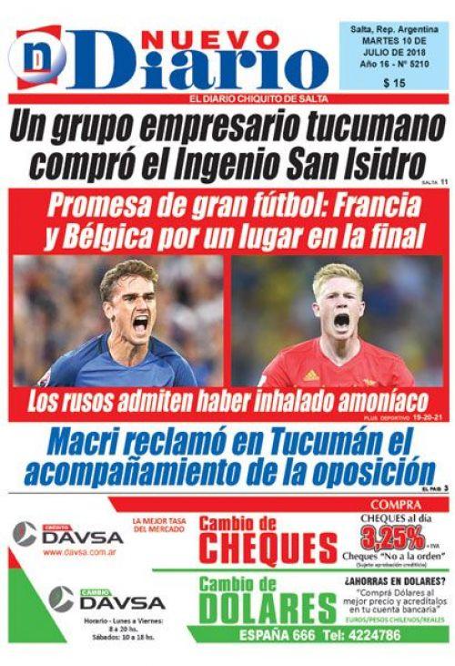 Tapa del 10/07/2018 Nuevo Diario de Salta