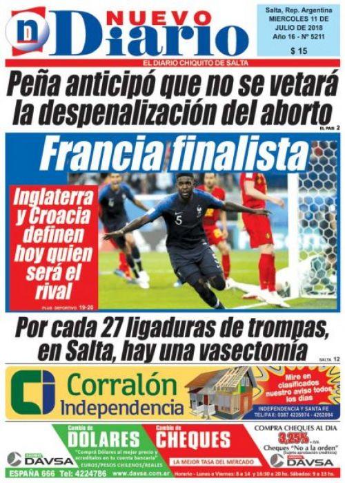 Tapa del 11/07/2018 Nuevo Diario de Salta