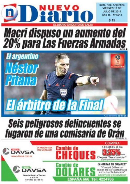 Tapa del 13/07/2018 Nuevo Diario de Salta