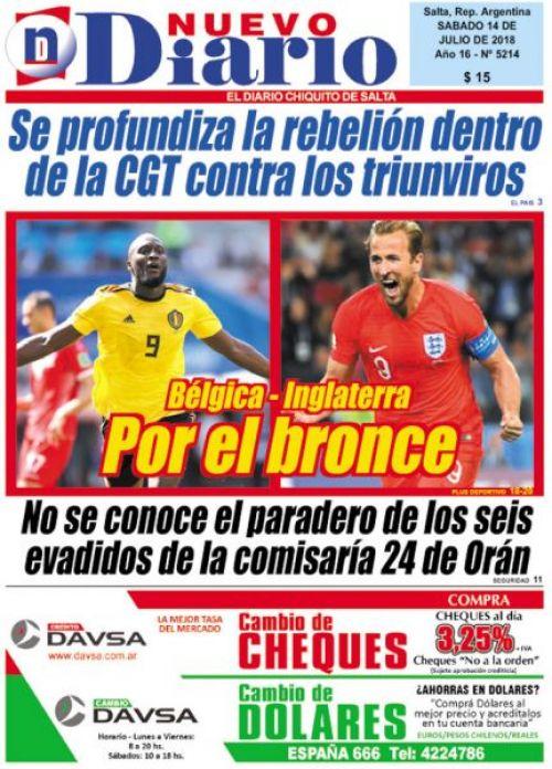 Tapa del 14/07/2018 Nuevo Diario de Salta