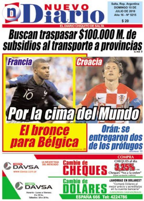 Tapa del 15/07/2018 Nuevo Diario de Salta
