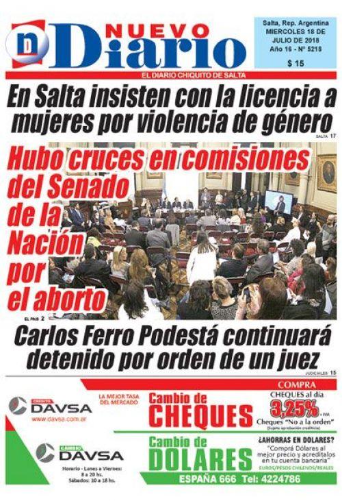 Tapa del 18/07/2018 Nuevo Diario de Salta