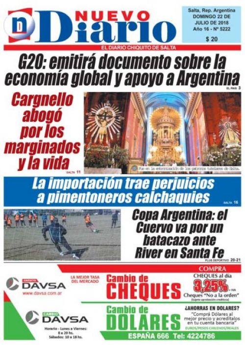 Tapa del 22/07/2018 Nuevo Diario de Salta