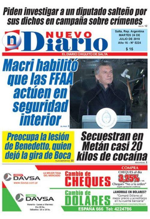 Tapa del 24/07/2018 Nuevo Diario de Salta