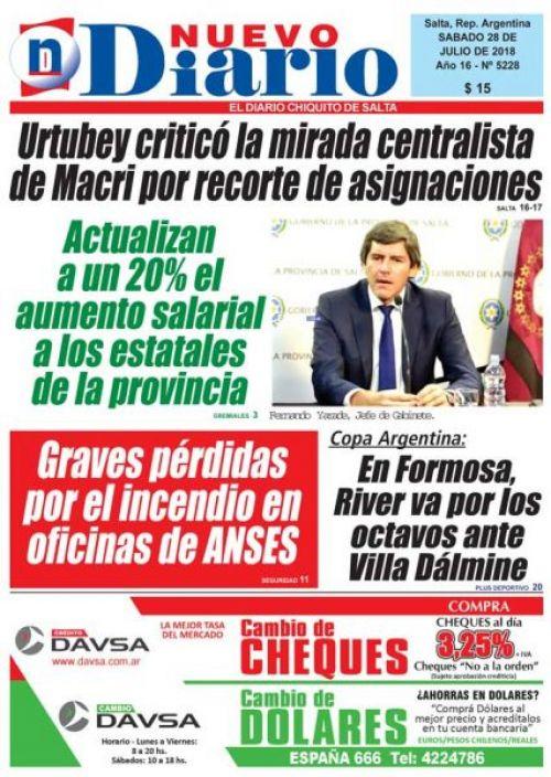 Tapa del 28/07/2018 Nuevo Diario de Salta