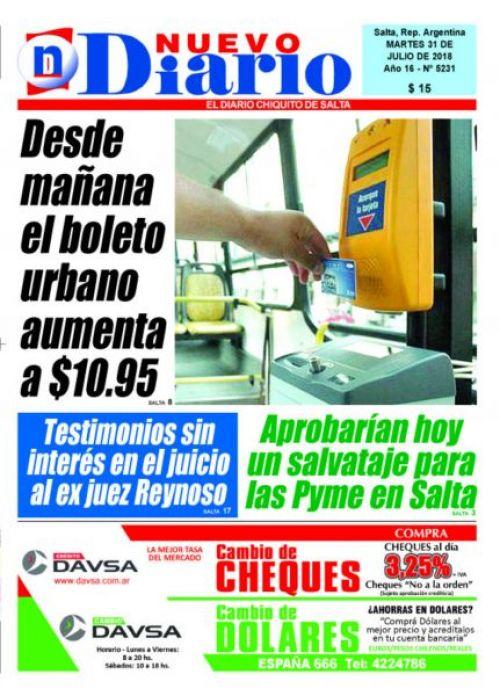 Tapa del 31/07/2018 Nuevo Diario de Salta