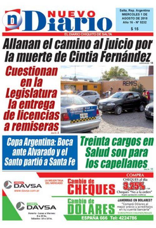 Tapa del 01/08/2018 Nuevo Diario de Salta