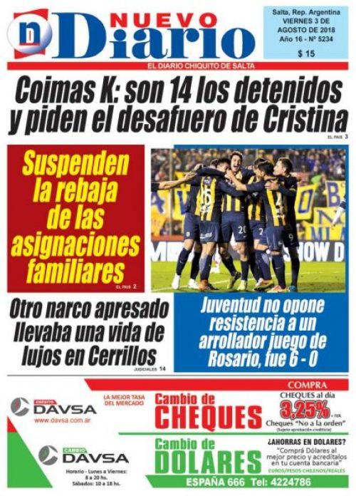 Tapa del 03/08/2018 Nuevo Diario de Salta