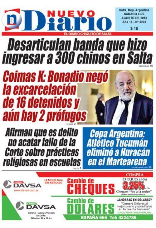 Tapa del 04/08/2018 Nuevo Diario de Salta