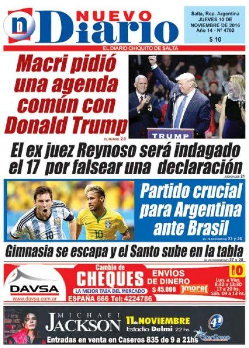 Tapa del 10/11/2016 Nuevo Diario de Salta
