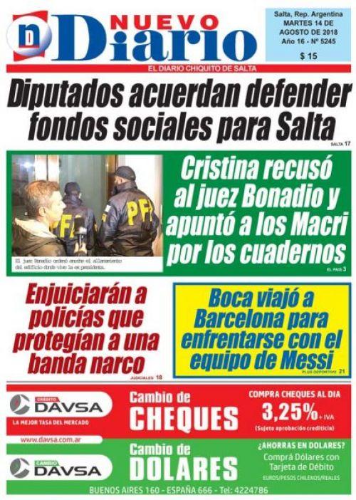 Tapa del 14/08/2018 Nuevo Diario de Salta