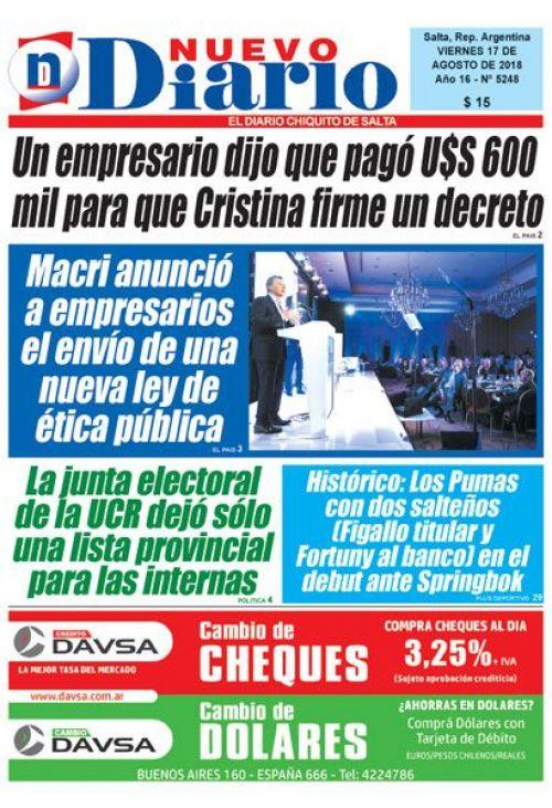 Tapa del 17/08/2018 Nuevo Diario de Salta