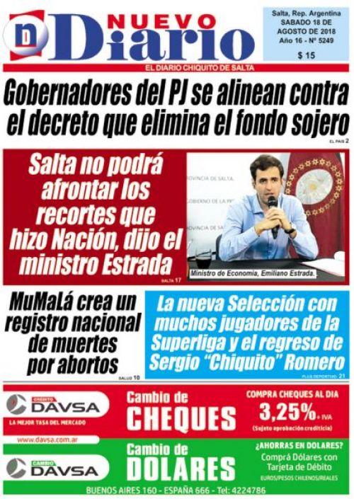 Tapa del 18/08/2018 Nuevo Diario de Salta