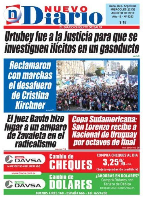 Tapa del 22/08/2018 Nuevo Diario de Salta