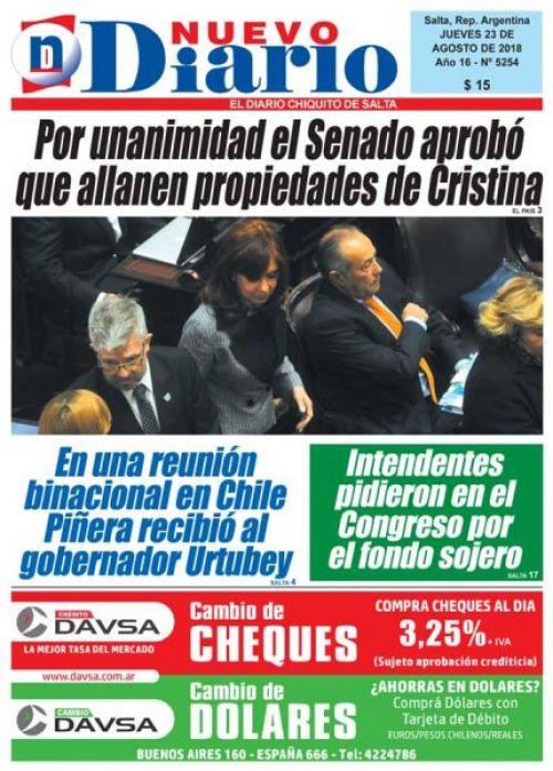 Tapa del 23/08/2018 Nuevo Diario de Salta