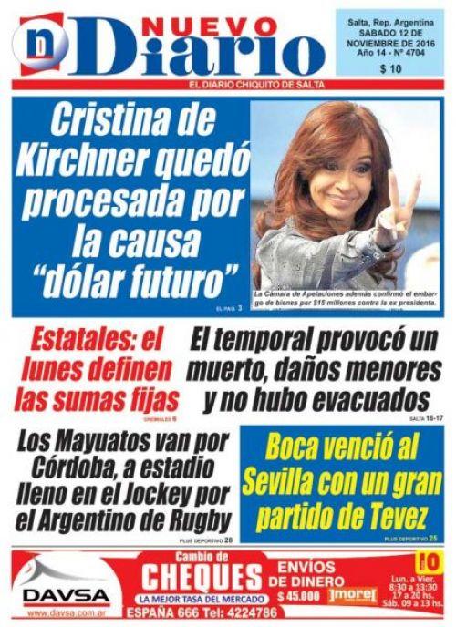 Tapa del 12/11/2016 Nuevo Diario de Salta