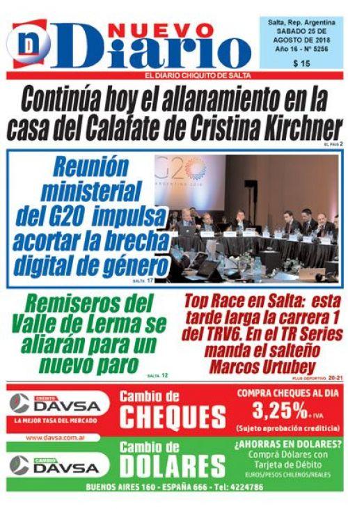 Tapa del 25/08/2018 Nuevo Diario de Salta