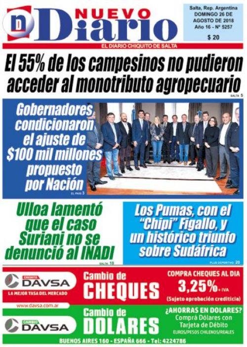 Tapa del 26/08/2018 Nuevo Diario de Salta