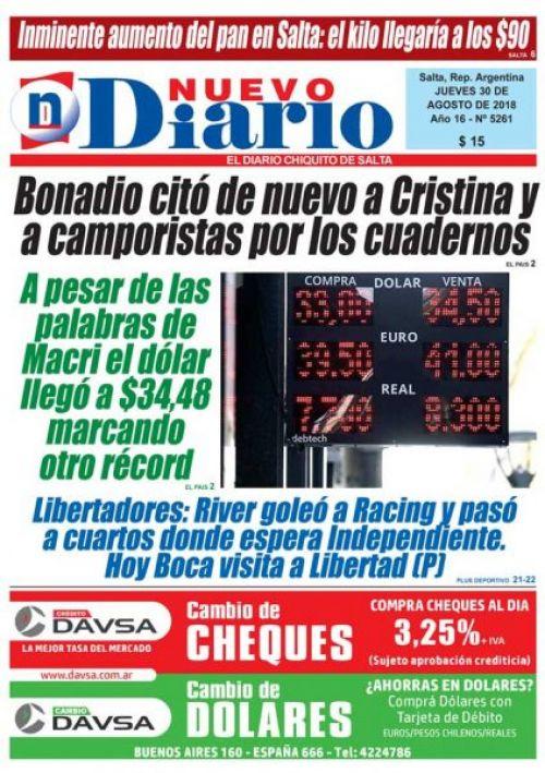 Tapa del 30/08/2018 Nuevo Diario de Salta