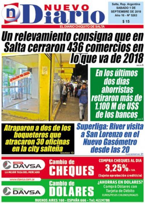 Tapa del 01/09/2018 Nuevo Diario de Salta