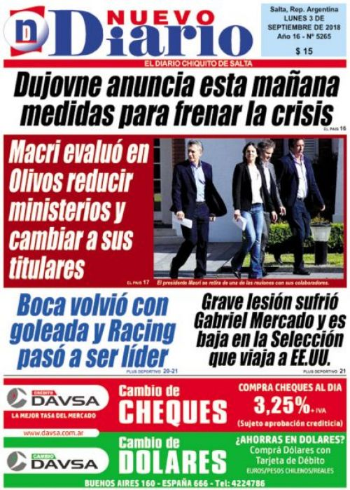 Tapa del 03/09/2018 Nuevo Diario de Salta