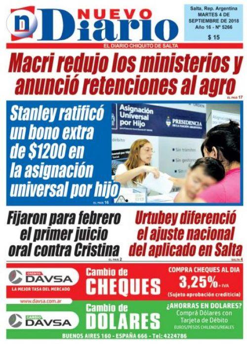 Tapa del 04/09/2018 Nuevo Diario de Salta
