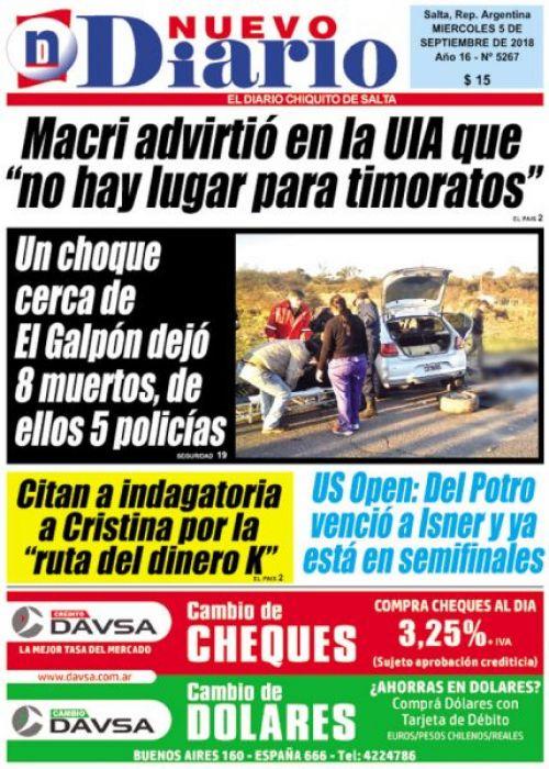 Tapa del 05/09/2018 Nuevo Diario de Salta