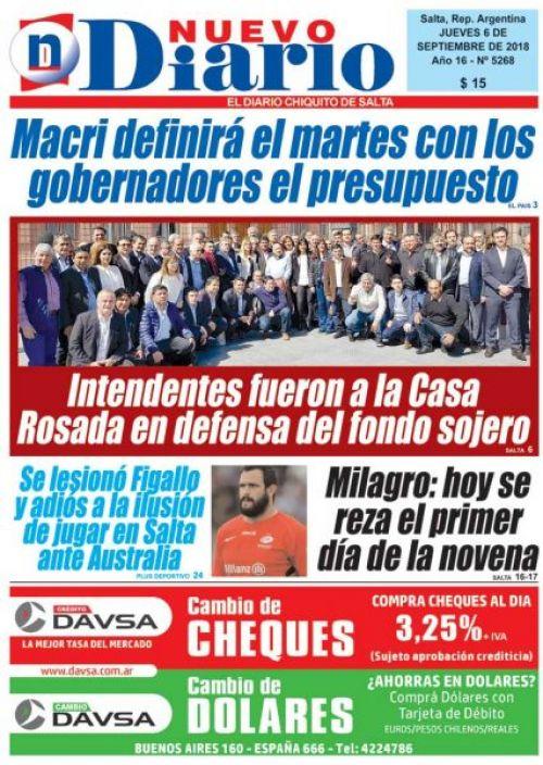 Tapa del 06/09/2018 Nuevo Diario de Salta