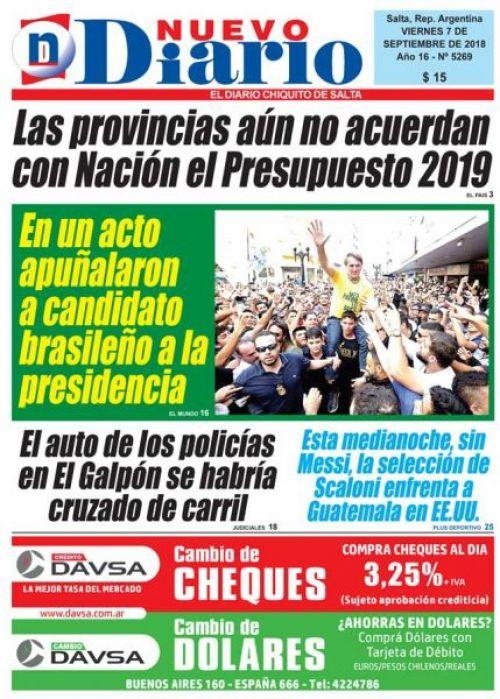 Tapa del 07/09/2018 Nuevo Diario de Salta