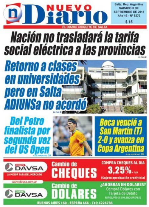 Tapa del 08/09/2018 Nuevo Diario de Salta