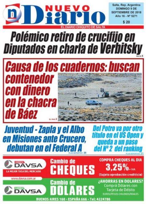 Tapa del 09/09/2018 Nuevo Diario de Salta