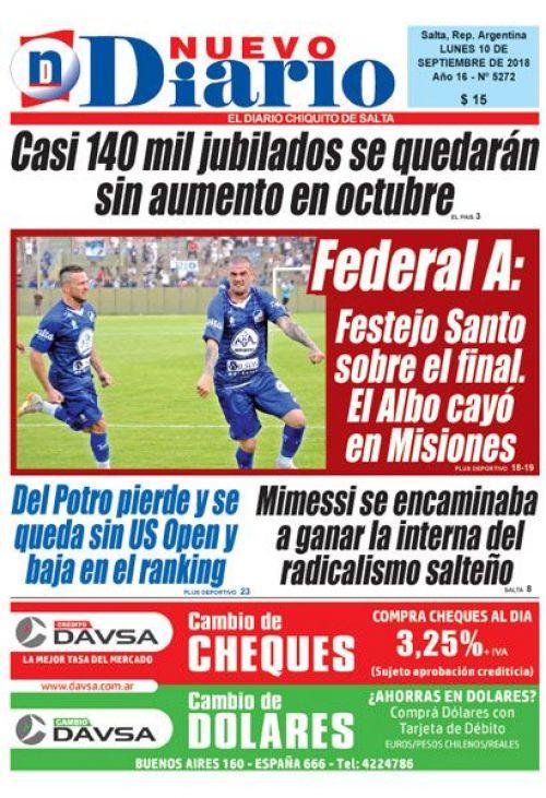 Tapa del 10/09/2018 Nuevo Diario de Salta