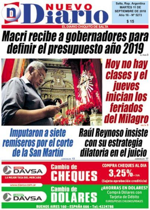 Tapa del 11/09/2018 Nuevo Diario de Salta