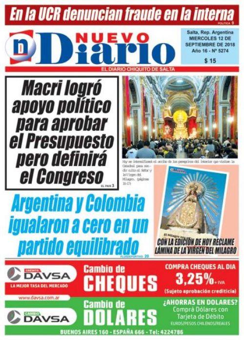 Tapa del 12/09/2018 Nuevo Diario de Salta