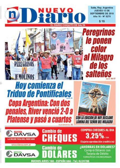 Tapa del 13/09/2018 Nuevo Diario de Salta