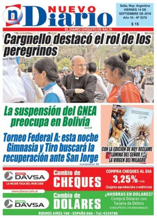 Tapa del 14/09/2018 Nuevo Diario de Salta