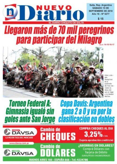 Tapa del 15/09/2018 Nuevo Diario de Salta