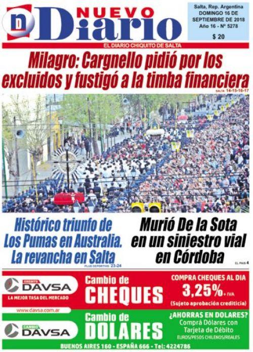 Tapa del 16/09/2018 Nuevo Diario de Salta