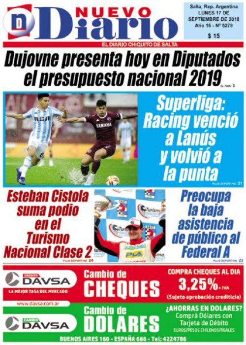 Tapa del 17/09/2018 Nuevo Diario de Salta