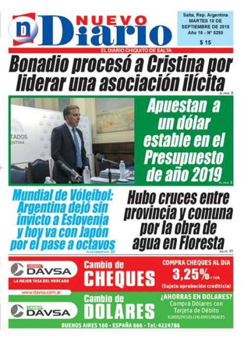 Tapa del 18/09/2018 Nuevo Diario de Salta
