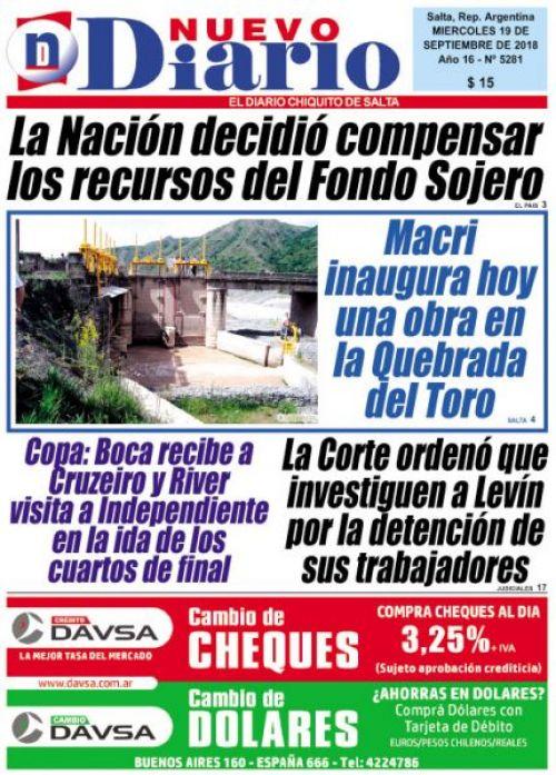 Tapa del 19/09/2018 Nuevo Diario de Salta